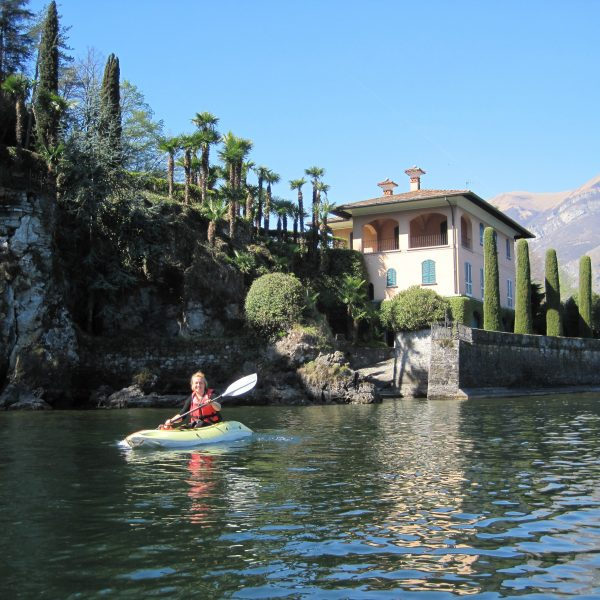 Kayaking near the villas on Lake Como
