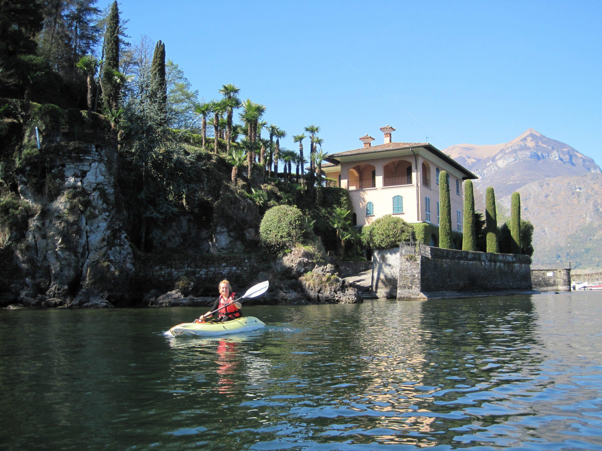 Kayaking near the villas on Lake Como